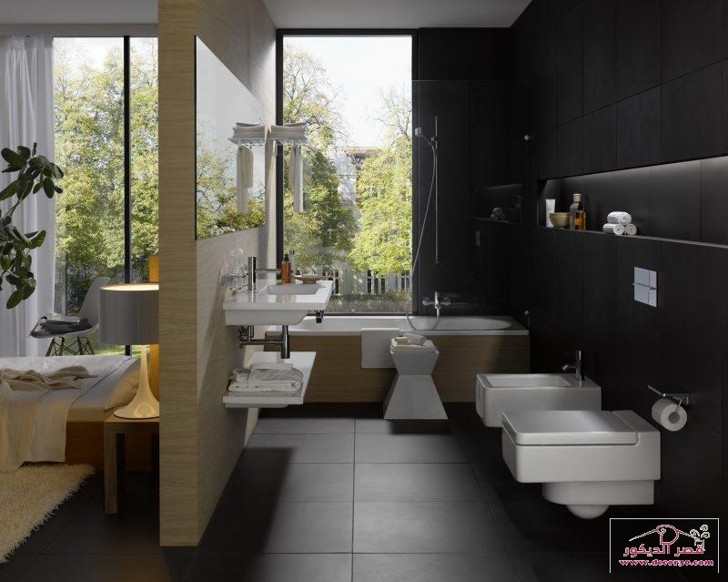تصاميم حمامات مودرن واسعة