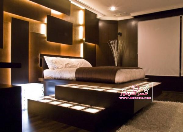 غرف نوم باللون البني