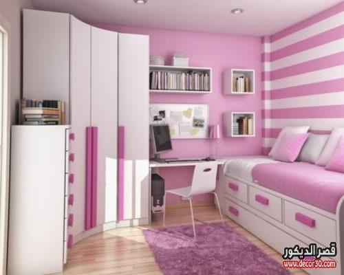 غرف نوم وردي وابيض