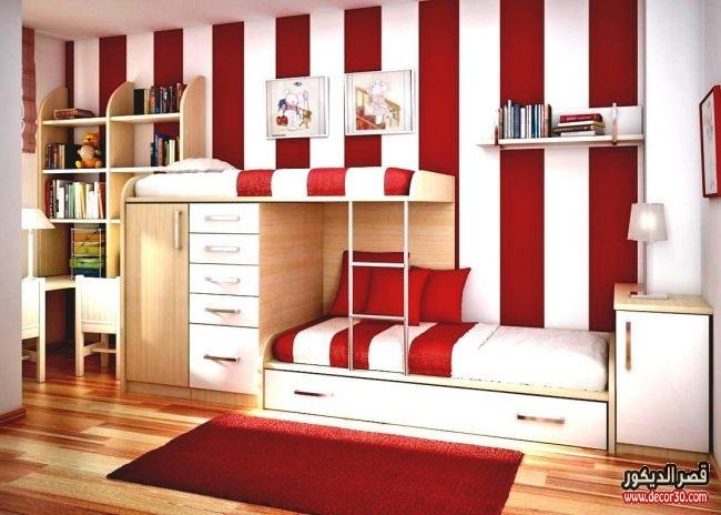 تصاميم غرف أطفال جديدة بسريرين