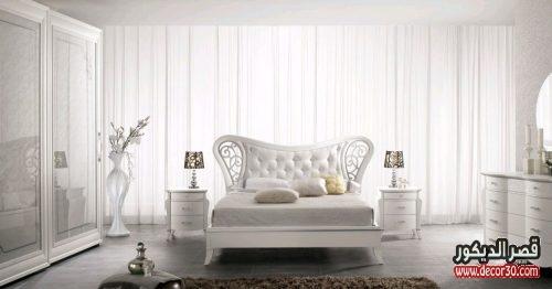 الوان غرف نوم للعرسان باللون الابيض