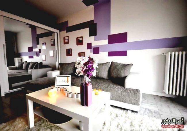 ديكورات غرف جلوس باللون الموف