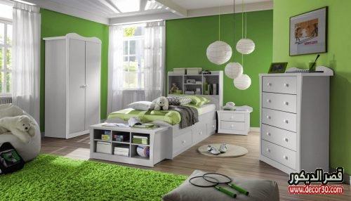 ديكورات غرف نوم اطفال ابيض واخضر