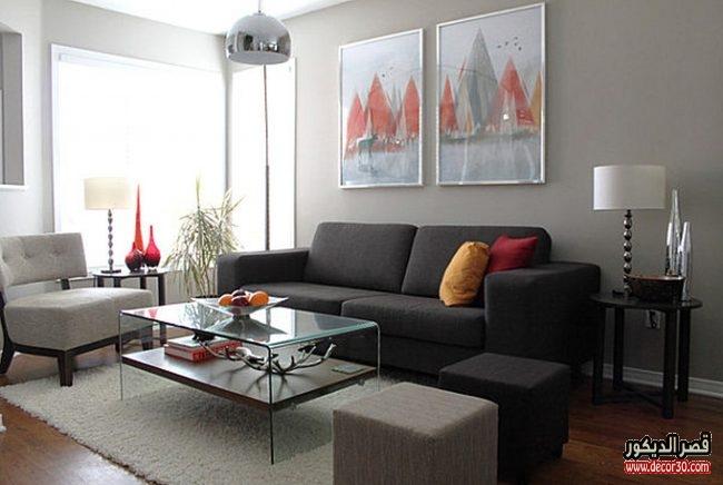اجمل ديكور لغرف معيشة باللون الرمادي