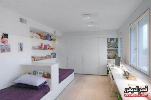 غرف اطفال بسريرين ابيض وموف