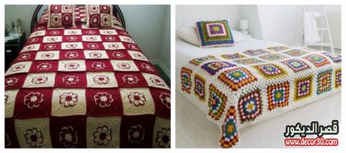 غطاء سرير بوحدات كروشي