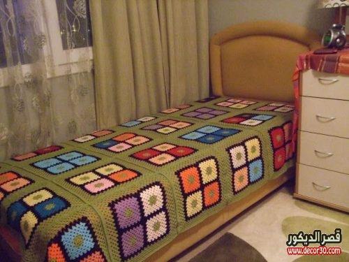 مفارش سرير كروشية بالباترون