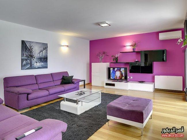 غرف معيشة مودرن باللون الموف
