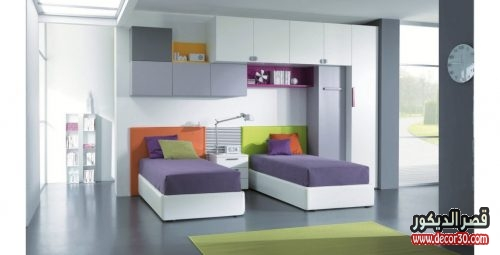 صور غرف نوم اطفال بسريرين منفصلين للمساحات الصغيرة