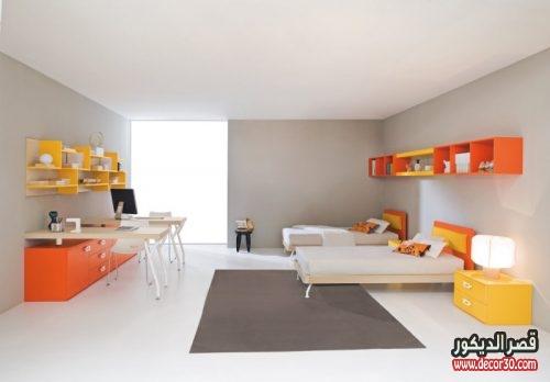 صور غرف نوم اطفال مودرن بسريرين