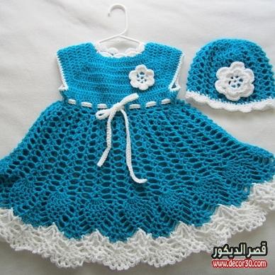 طريقة عمل فستان اطفال كروشية خطوة بخطوة