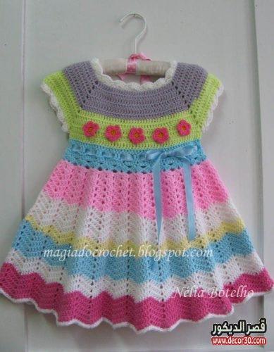 طريقة عمل فستان اطفال كروشية