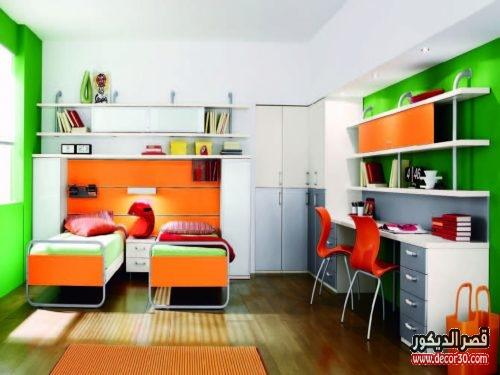 غرف نوم اطفال مودرن بسريرين
