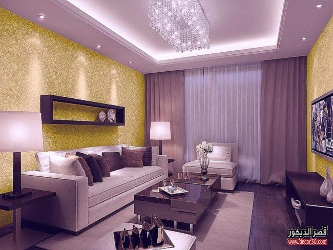 اشكال غرف معيشة باللون الموف