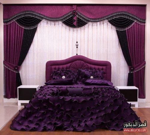 ستائر غرف نوم للعرايس بنفسجي