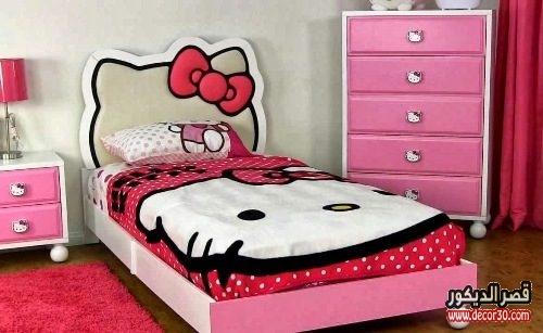 غرف نوم اطفال hello kitty