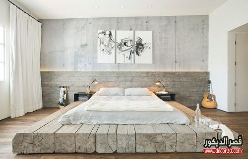 الوان حوائط غرف النوم الحديثة خشبي
