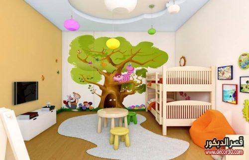 الوان حوائط غرف نوم اطفال بالرسم