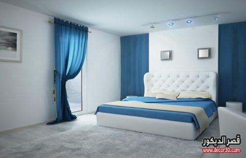 الوان دهانات غرف النوم الحديثة باللون الأبيض والأزرق
