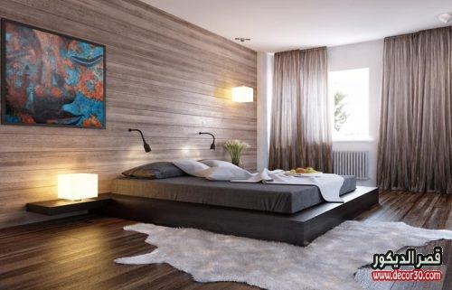 الوان ديكورات خشبية لغرف نوم