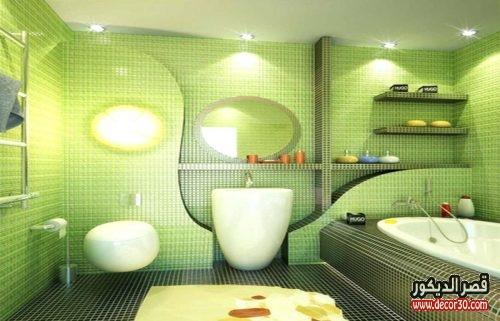 ديكورات حمامات صغيرة المساحة باللون الأخضر