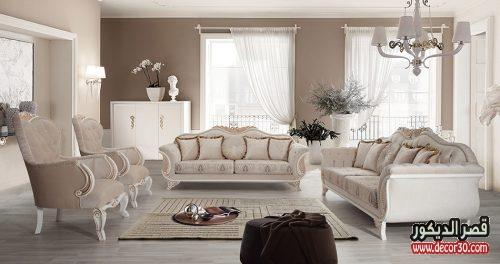 ديكورات صالون منازل تركية كلاسيك ومودرن مدهب