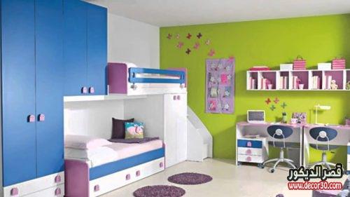 غرف نوم اطفال بسريرين ودولاب