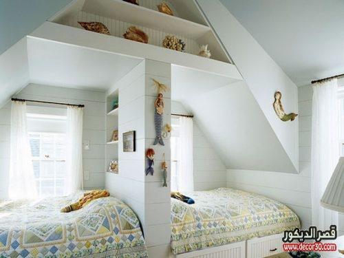 غرف نوم اولاد بسريرين خشب