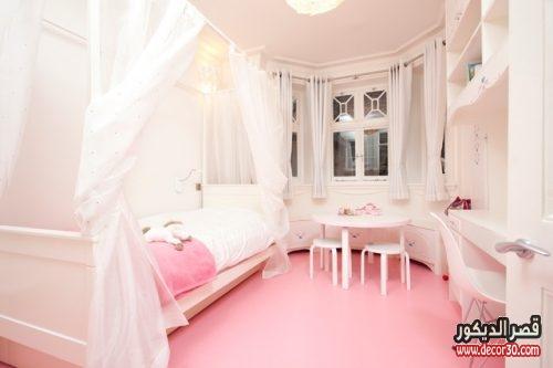 غرف نوم بنات باللون الابيض