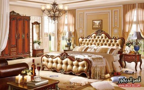 غرف نوم كلاسيك بني