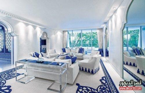 تصميم صالونات مغربية باللون الأبيض