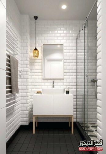 ديكورات حمامات مستطيله باللون الابيض