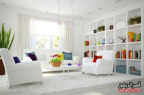 ديكورات غرف معيشة بسيطة باللون الابيض