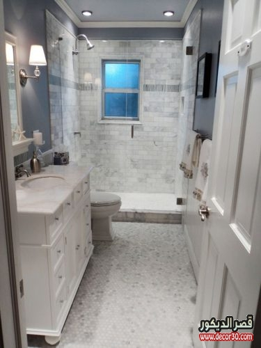 ديكور حمامات مستطيله بسيطة