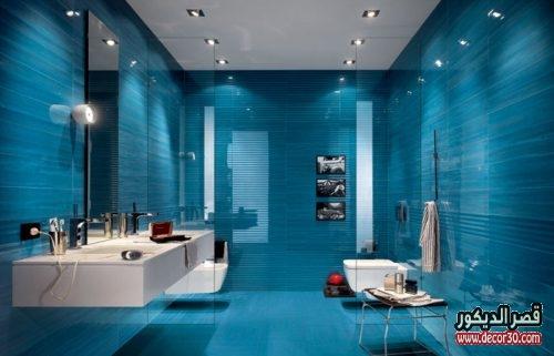 ديكور حمام ذات اللون الفيروزي