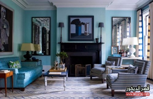 Turquoise Living room interior design