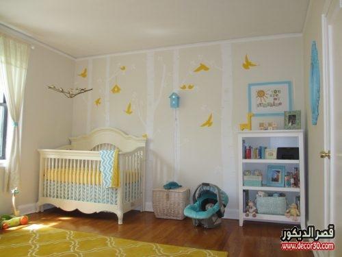 yellow-nursery-room-birds-wall