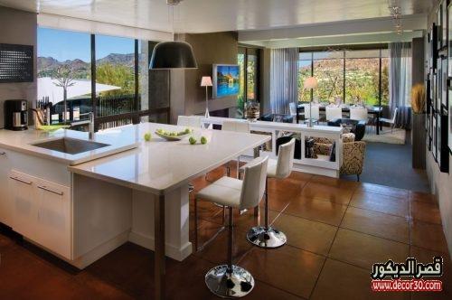 تصميم مطبخ مفتوح على الصاله