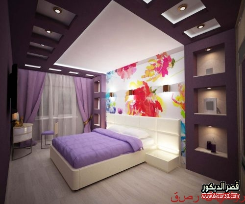 ديكور جبس اسقف غرف نوم بسيطة