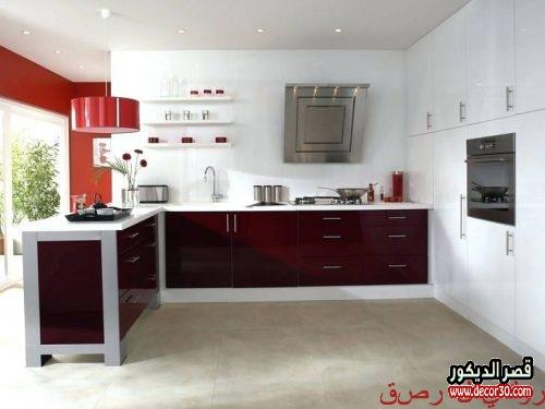 ديكورات مطابخ تركية حمراء