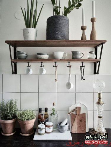 ارفف خشب للمطبخ